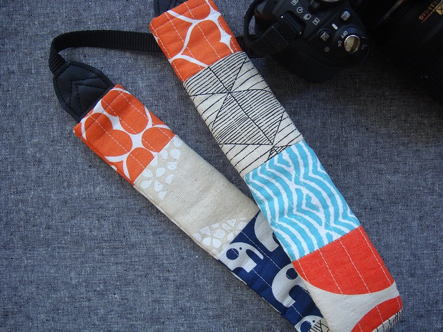 camera strap cover by Jaime: Umbrella Prints Trimmings Competition 2013
