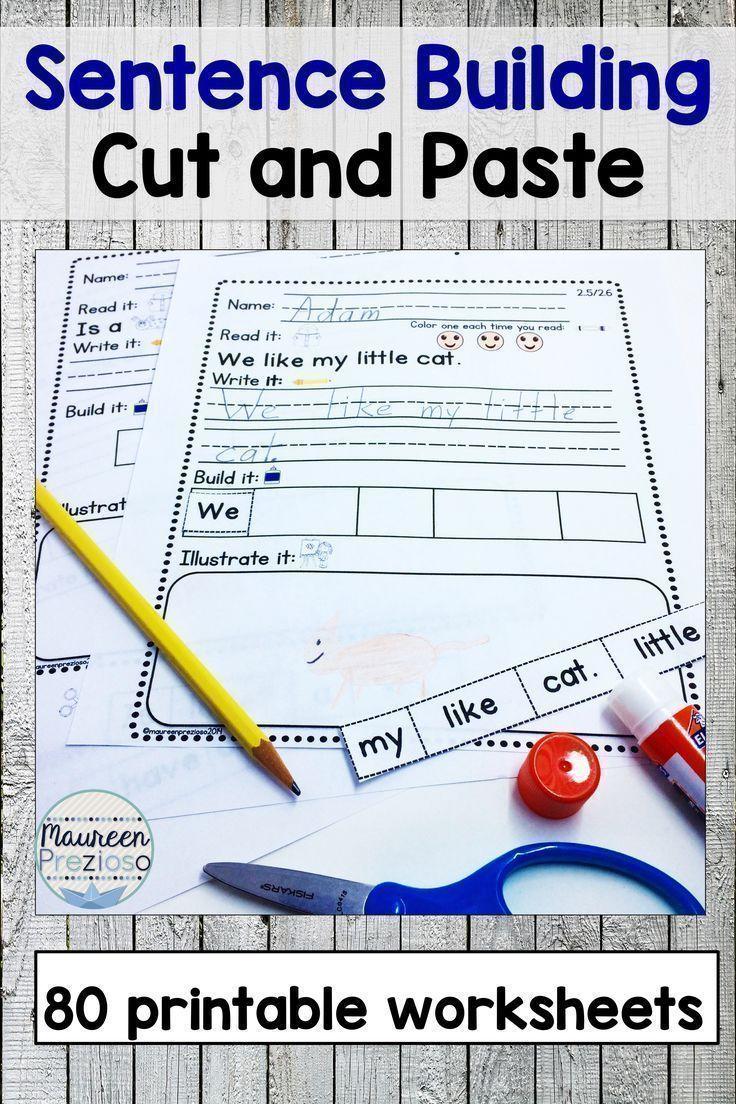 Sentence Building Worksheets | Kindergarten Literacy Centers