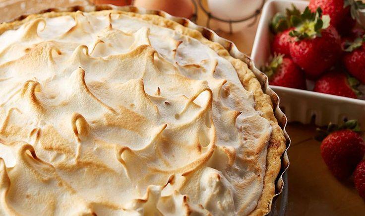 Strawberry Rhubarb Custard Meringue Pie