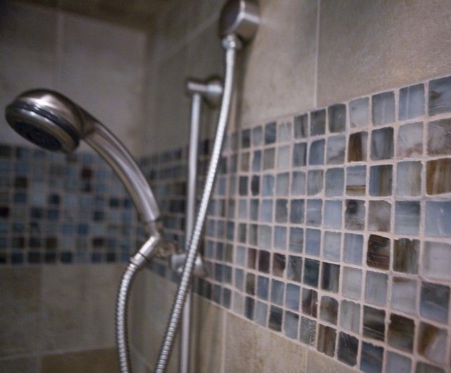 Brown Glass Tile, Red Glass Tile & Shower Arrangement Idea in Eclectic Bathroom -  Steam Shower,  Mosaic,  Spa, Family &  Kids