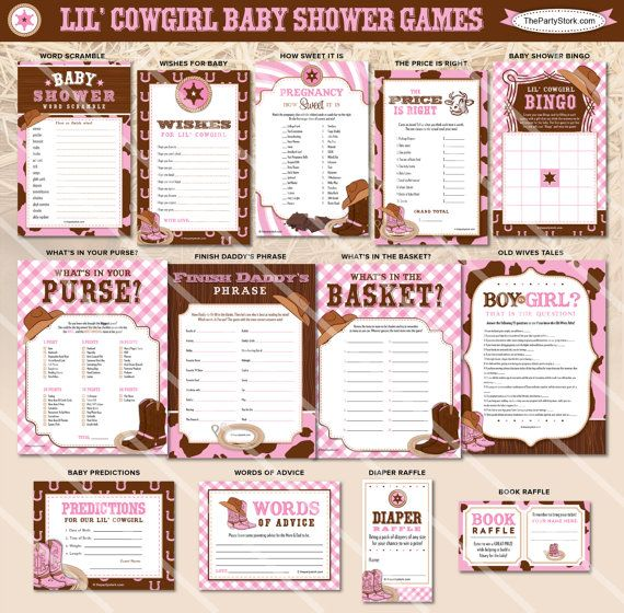 Cowgirl Baby Shower Games. Western Theme. Girl Baby Shower Printable. Listing is for ONE printable game. You Choose. You may select the game of your choice from the dropdown menu. Description and sizes of games are below. Coordinating invite and printable baby shower decorations available in our shop. Click here: Invitations: https://www.etsy.com/listing/184371304/cowgirl-baby-shower-invitation-printable https://www.etsy.com/listing/184370264/...