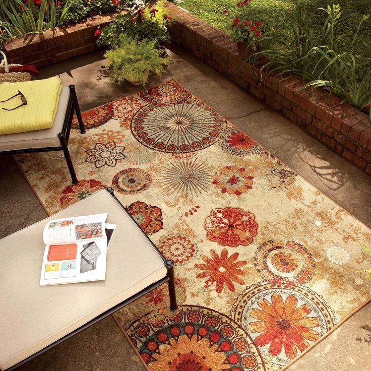 Mohawk Home Printed Indoor/ Outdoor Alexa Medallion Multi Rug (5' x 8') (Indoor/Outdoor Medallion Rug), Red, Size 5' x 8' (Nylon, Floral)