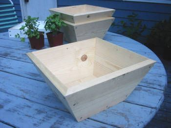 Planters wood boxes and google on pinterest for Tapered planter box plans