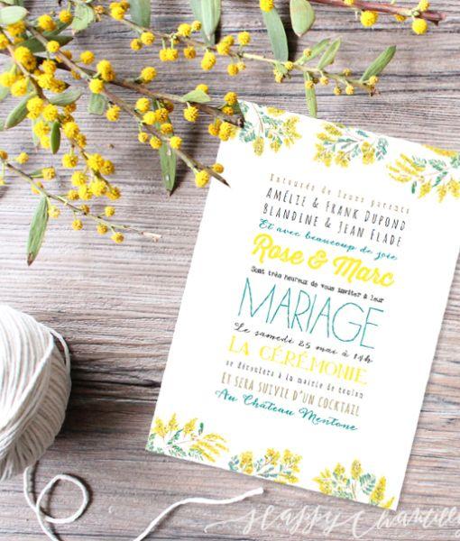 faire-part-mariage-jaune-moderne-fleurs-mimosa-gai-polices-enveloppe-kraft-happy-chantilly