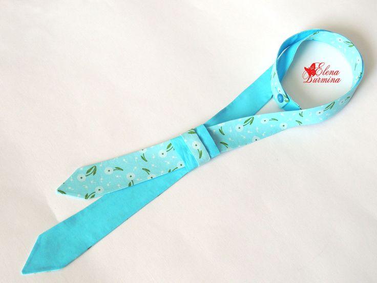 Купить Женский двухсторонний галстук цвета Райский Остров, хлопок - бирюзовый, цветочный, однотонный