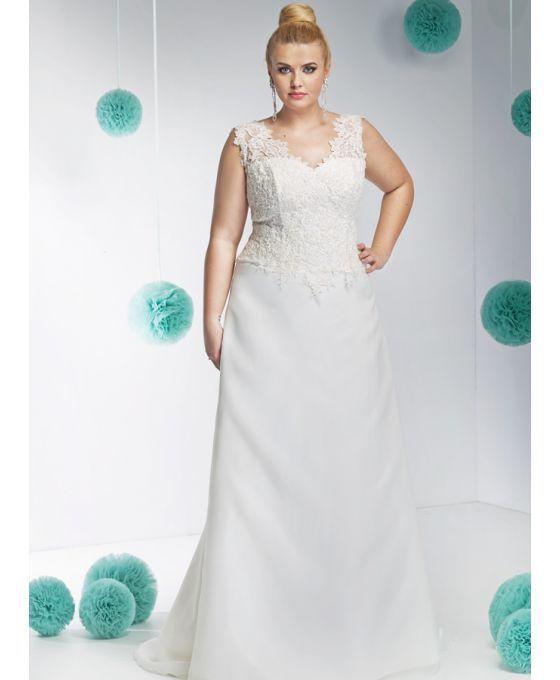Vestito da Sposa con corpetto in pizzo e chiusura a lacci. Vendita all'Ingrosso per rivenditori e atelier a prezzi economici.