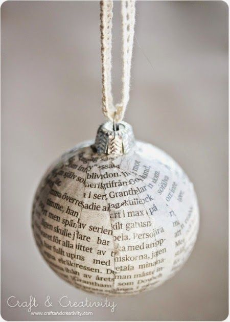Homemade paper mache Christmas tree baubles. Add greenery & ribbon to the top