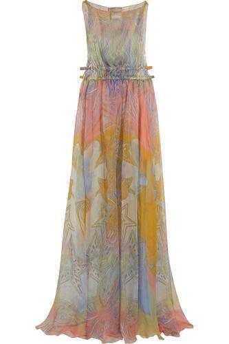 Printed silk-chiffon maxi dress #silkdress #women #covetme #emiliopucci