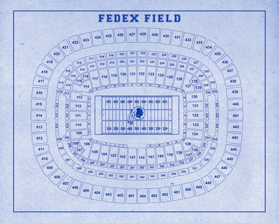 Vintage Fedex Field Washington Football Diagram on by ClavinInc