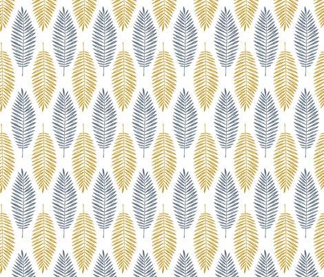 Palmenblätter. Gold und Blau. Design von adehoidar auf Spoonflower.com | Wohnidee: Kaufe dieses Design auf Chiffon und nähe daraus luftig, durchscheinende Vorhänge für dein Wohn- oder Schlafzimmer