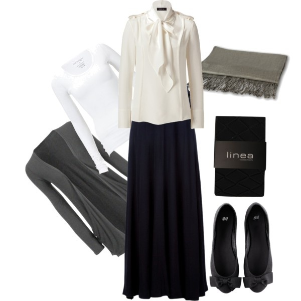 "For an interview at school or an MLSA function. I think Hijabis can definitely do something other than a suit for an interview. ""Black Long Skirt and white top, Grey Hijab"" by feminine-modesty on Polyvore"