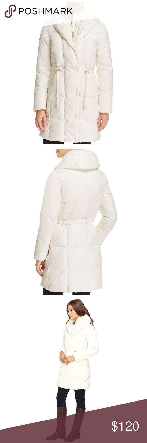 Cole Haan Shawl Collar Down Coat Shawl hood, inner stand collar, zip front closure with snap button overlay Zip pockets, cuffs with ribbed lining, drawstring waist, interior lining and pocket 100% Polyester shell/lining, 60% Down 40% Feather fill, 100% Polyester bib fill Dry clean Imported Ladies Cole Haan Jackets & Coats