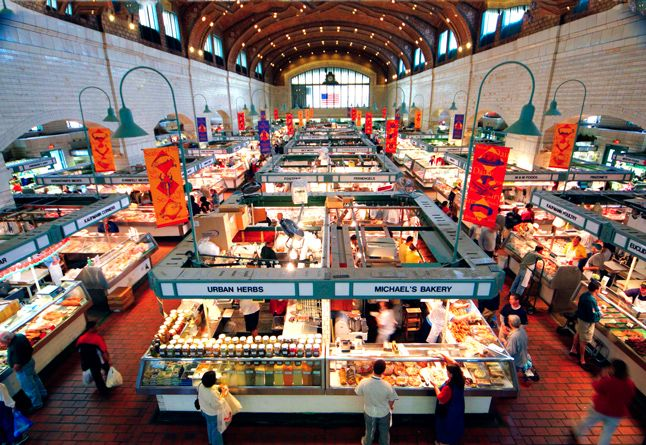 West Side Market Cleveland With its 44-foot-high vaulted ceilings and iconic clock tower, this recently redone hall has the feel of a European train station. Plus, there's a year-round 85-stall produce area outside.