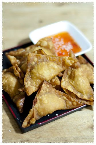 Wonton (or wantan, wuntun, wanton) is a bite-size dumpling; filled with meat/seafood/vege and wrapped in a dough made from egg, flour, water and salt. Wonton can be served deep fried or  boiled (co...