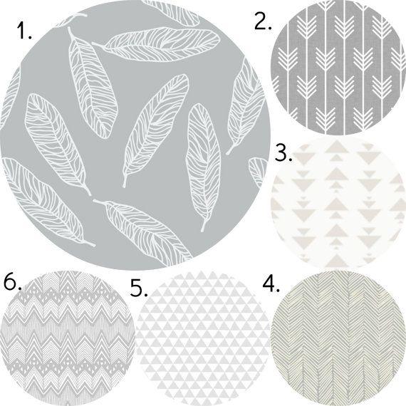 Grey Feather Crib Bedding Set, Gender Neutral Crib Sheet, Crib Skirt, Bumper, Feather Arrow Southwest Nursery