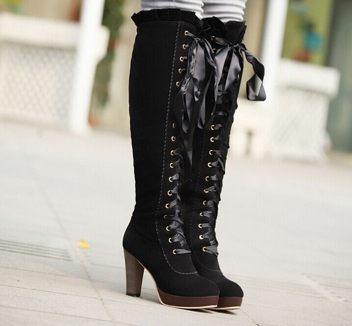 Liz lisa ruffle ribbon boots legs high-leg silks and satins ribbon bow knee-length boots boots