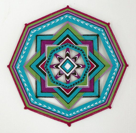 Desert Gemstones, an 11 inch, 8-sided Ojo de Dios mandala via Etsy