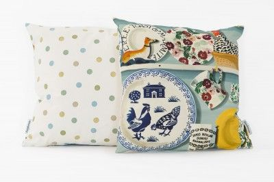 The Dresser cushion - Duck Egg Hen (10003) - Emma Bridgewater Cushions - A beautiful square cushion created from the Emma Bridgewater design – The Dresser in duck egg blue with images of her iconic china. One of six designs created from the fabric – actual cushion may vary slightly, this one has the plate in blue and the reverse is the pretty polka dot design.  Approximate size 40cm square – with feather pad.
