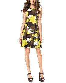 MICHAEL Michael Kors MICHAEL Michael Kors  Pleated Camo-Print Flare Dress
