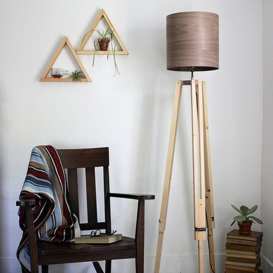 A DIY to make your own wooden tripod floor lamp with a veneer lampshade!