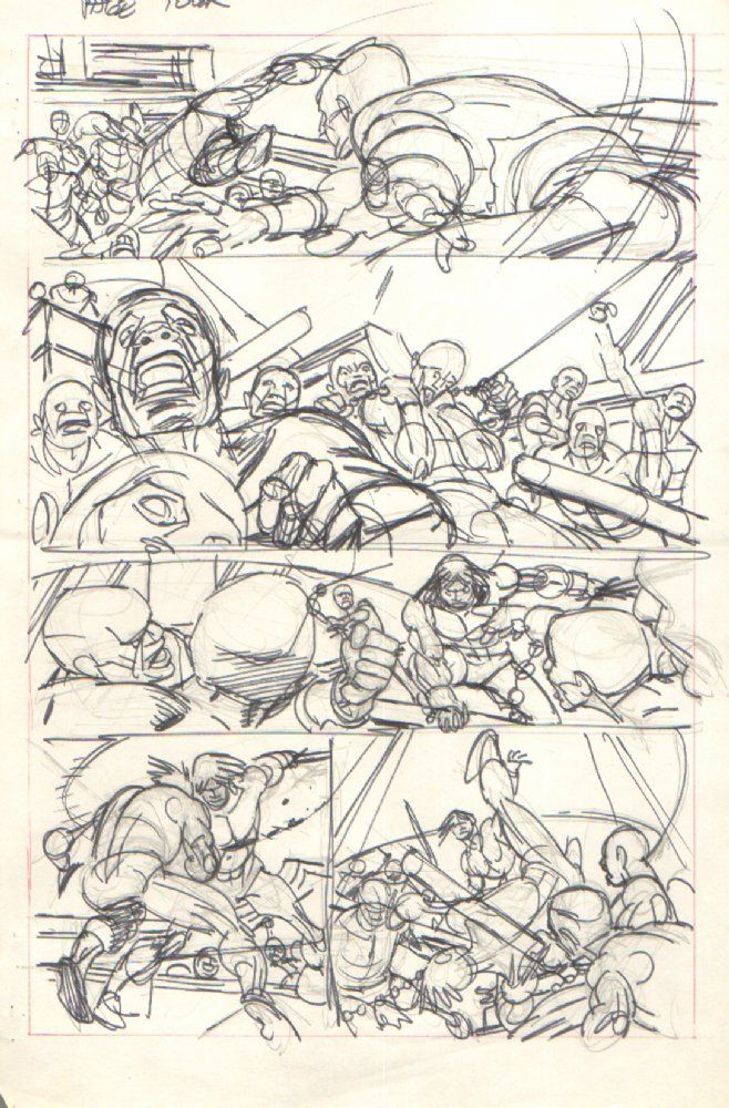 Comic Art For Sale from Anthony's Comicbook Art, Conan p.4 All Out Brawl Pencil/Marker Prelim by Comic Artist(s) Gil Kane