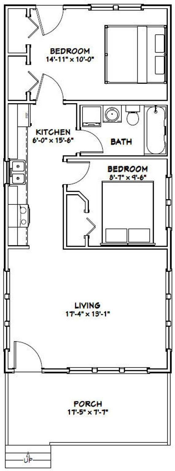 18x40 House 2 Bedroom 1 Bath 720 Sq Ft Pdf Floor Plan Etsy Cabin Floor Plans House Plan With Loft Shed Plans