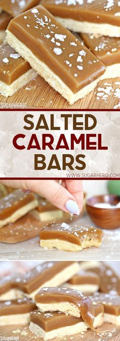 Salted Caramel Bars - buttery shortbread, soft and chewy caramel, and crunchy sea salt!   From SugarHero.com