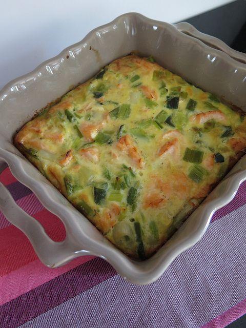 Clafoutis de poireaux, saumon & lait de coco  legumes avec oeufs