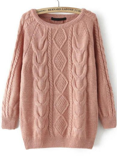 Fall Fashion Cable Knit Loose Pink Sweater