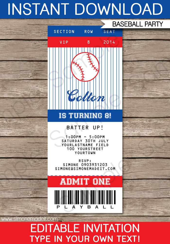 Baseball Ticket Invitation Template   Birthday Party Invitations   Editable DIY   Baseball Theme   INSTANT DOWNLOAD $7.50 via SIMONEmadeit.com
