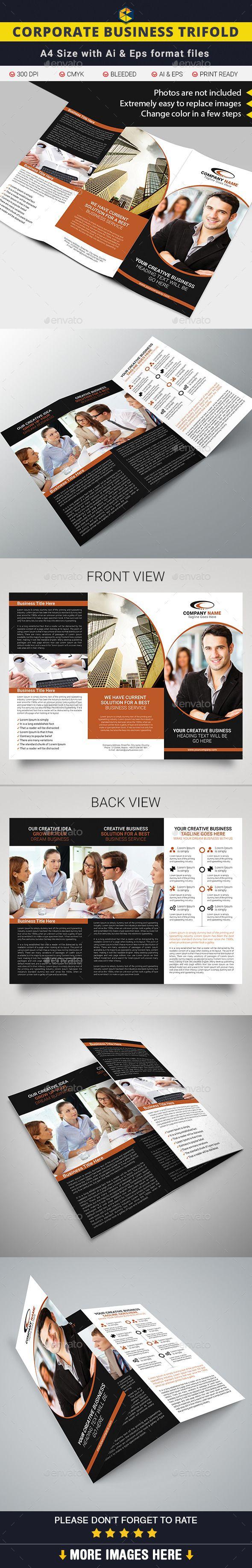 Corporate Business Tri Fold Template #design Download: Http://graphicriver.  Tri Fold BrochureBrochure TemplatePsd ...