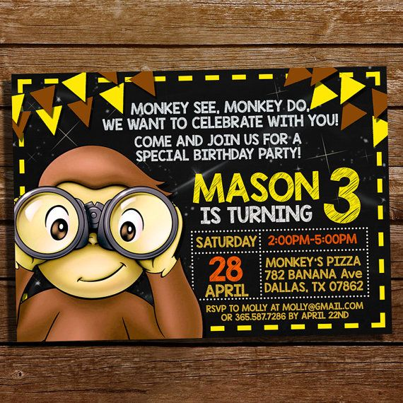Hey, I found this really awesome Etsy listing at https://www.etsy.com/listing/274057188/curious-george-birthday-invitation