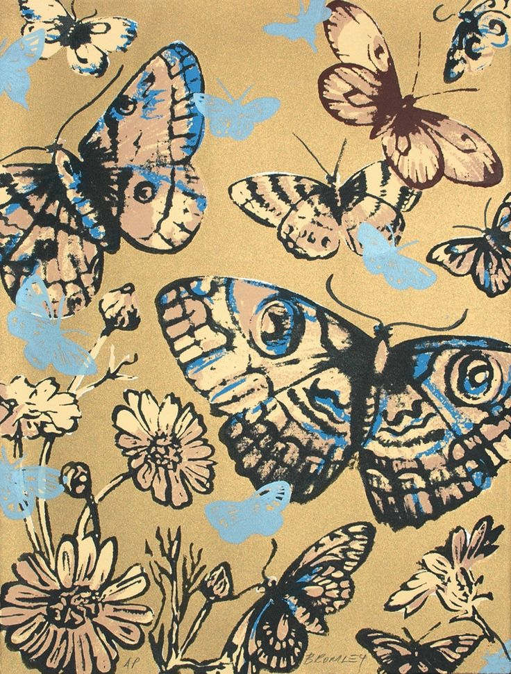 By Bromley, David - H17004 Butterflies on Gold