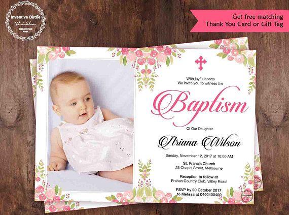 Printable Photo Baptism Invite Floral Baptism Invitation Girl Christening Invita Christening Invitations Girl Christening Invitations Baptism Invitations Girl