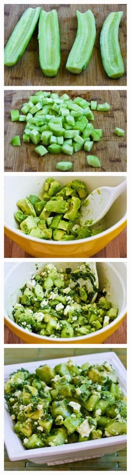 Cucumber and Avocado Salad Recipe with Lime, Mint, and Feta || Kalyn's Kitchen
