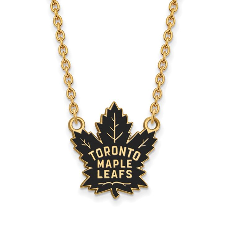 Sterling Silver with Gold Plating NHL LogoArt Toronto Maple Leafs Enamel Pendant with Necklace
