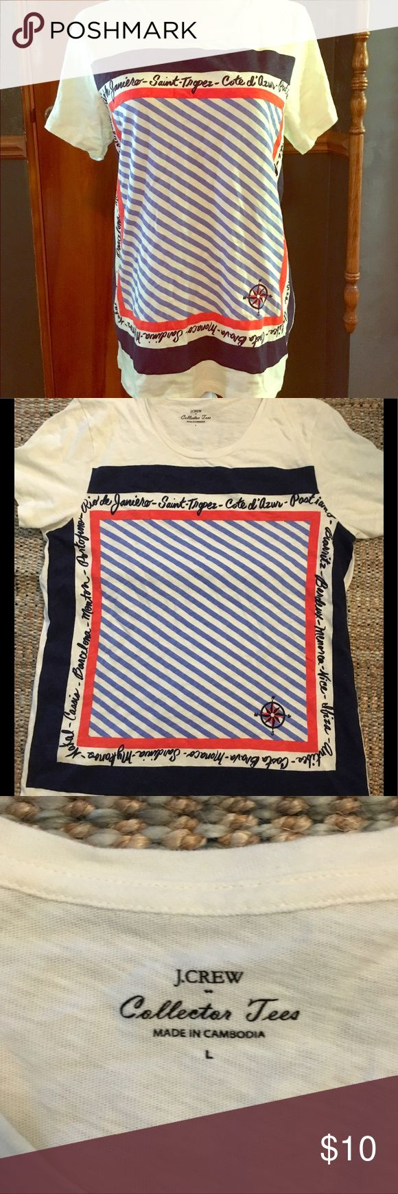 J Crew Factory Collector Tee Cream tee with blue and orange graphic on the front side. Back side is plain cream tee J. Crew Factory Tops Tees - Short Sleeve
