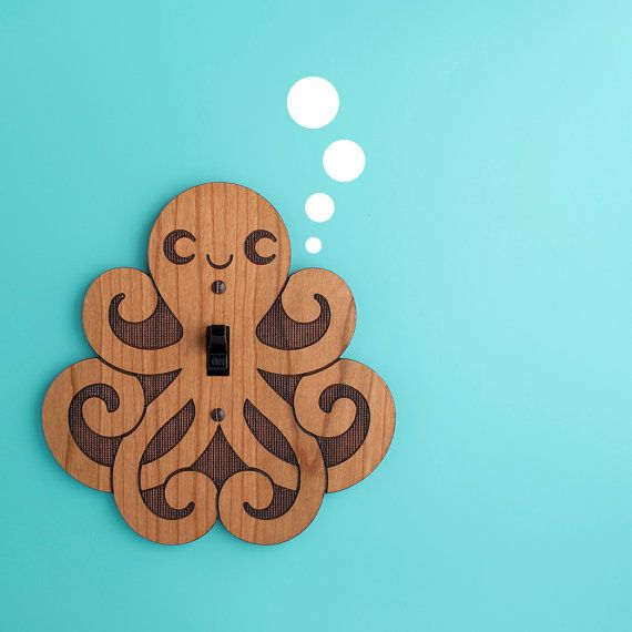 Wood Octopus Switchplate Kids Nursery Wall by graphicspaceswood, $28.00