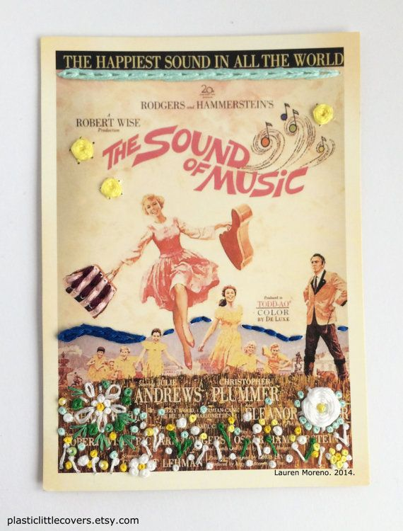The Sound of Music Embroidery Postcard. by plasticlittlecovers, £10.00