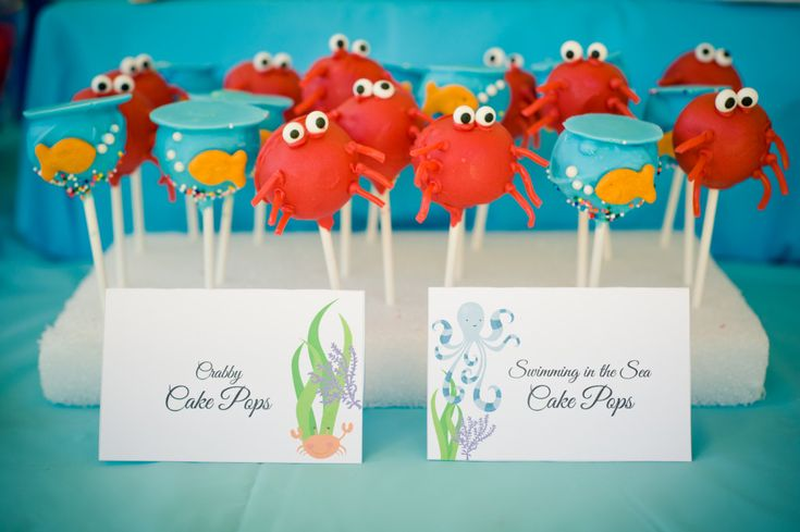 Under the Sea Water Party   Marigold Mom - love the fish bowl cake pops!  CUTE!
