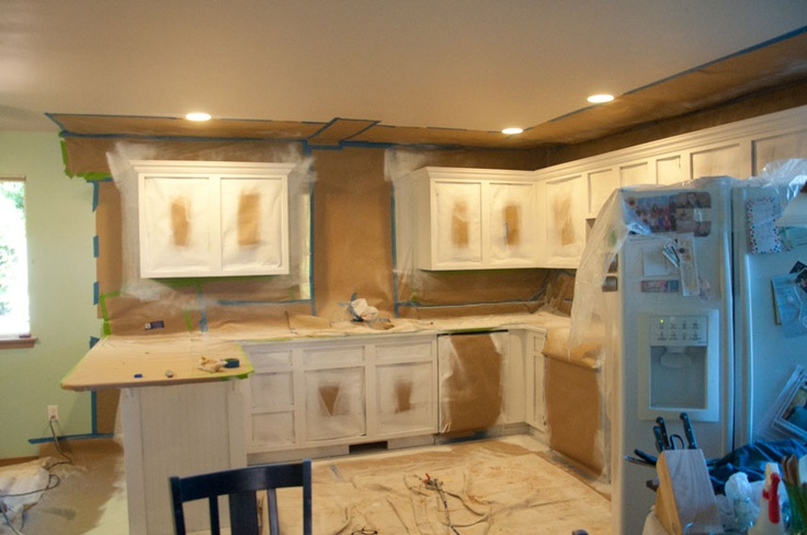 Spray painting kitchen cabinets for the home pinterest for Spray painting kitchen cabinets