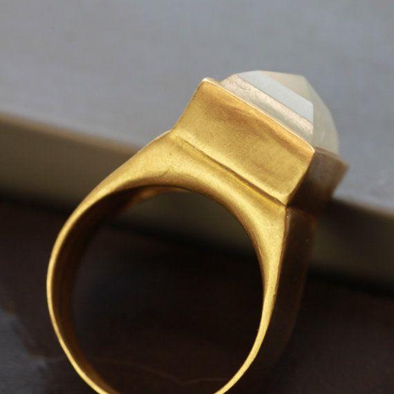 10 Ct Raw Aquamarine and 18K Yellow Gold by ZEHAVAJEWELRY on Etsy