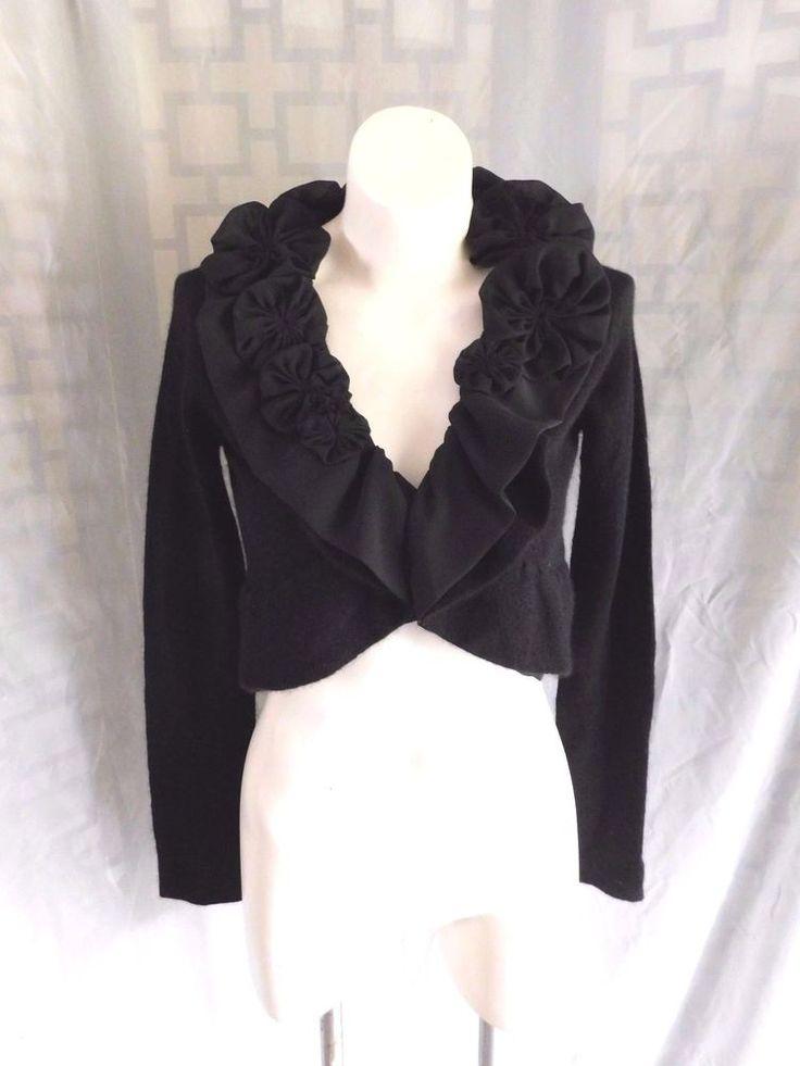 LINE Solid Black Chiffon Ruffle Rosette Cashmere Wool LS Crop Cardigan Shrug - M #Line #Cardigan