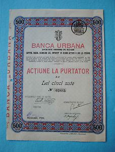 Banca Urbana Bucucresti Actiune la purtator 500 Lei 1920