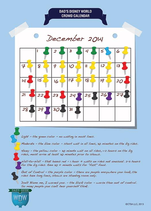 December Disney World Crowd Calendar. So glad I found this Dad guy, great advise