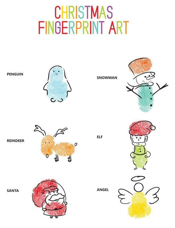 Christmas Fingerprint Art: Easy Winter Art Project for Kids with Free Printable Template.
