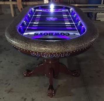 Dallas Cowboys poker table with focused LED lights