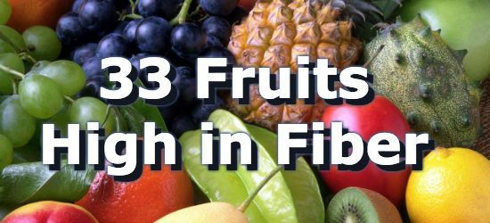 Whole fresh fruits are typically associated with good health and as being high in fiber. Passion fruit provides the most fiber with 24.5 grams (98% DV) per cup. Low in sugars and calories, berries are also a great source of fiber in fruits. The current daily value (%DV) for fiber is 25 grams. Below is a list of 33 fruits high in fiber, for more, see the extended list of fiber rich fruits, and the article on high fiber foods.