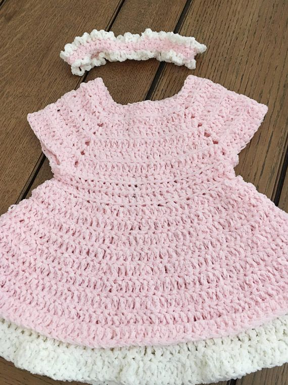 hand crocheted pink baby girl dress and headband size 3 to 6 months