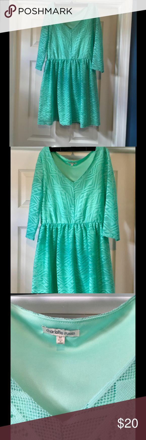Charlotte Russe dress! Mint green dress with sleeves. Worn once. Charlotte Russe Dresses Long Sleeve